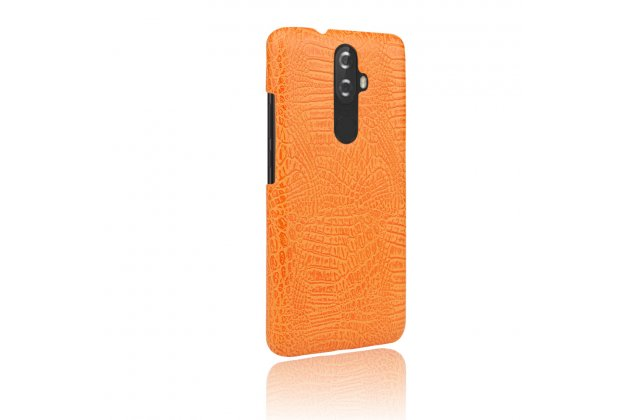 Фирменная роскошная элитная премиальная задняя панель-крышка на пластиковой основе обтянутая лаковой кожей крокодила  для Lenovo K8 5.2 оранжевая