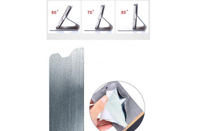 Фирменный чехол-книжка водоотталкивающий с мульти-подставкой на жёсткой металлической основе для Lenovo K8 5.2 черный из настоящей джинсы