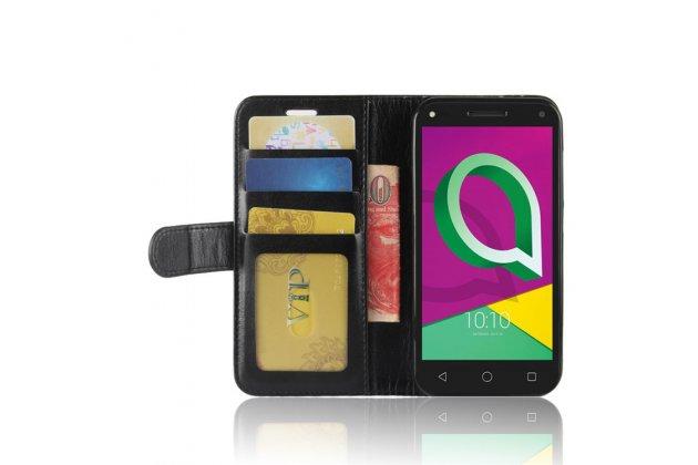 Фирменный чехол-книжка из качественной импортной кожи с подставкой застёжкой и визитницей для Alcatel U5 3G 4047D / Alcatel U5 3G 4047X черный