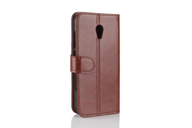Фирменный чехол-книжка из качественной импортной кожи с подставкой застёжкой и визитницей для Alcatel U5 3G 4047D / Alcatel U5 3G 4047X коричневый