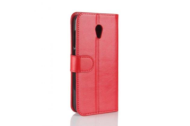 Фирменный чехол-книжка из качественной импортной кожи с подставкой застёжкой и визитницей для Alcatel U5 3G 4047D / Alcatel U5 3G 4047X красный