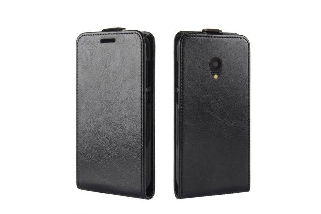 Фирменный оригинальный вертикальный откидной чехол-флип для  Alcatel U5 3G 4047D / Alcatel U5 3G 4047X черный из натуральной кожи Prestige
