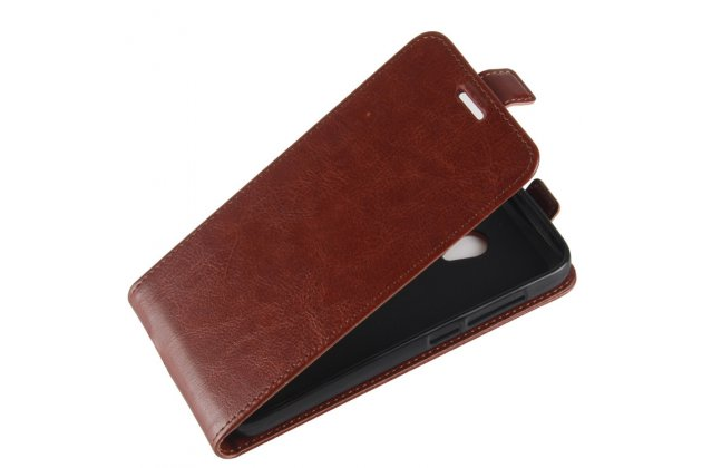 Фирменный оригинальный вертикальный откидной чехол-флип для Alcatel U5 3G 4047D / Alcatel U5 3G 4047X коричневый из натуральной кожи Prestige