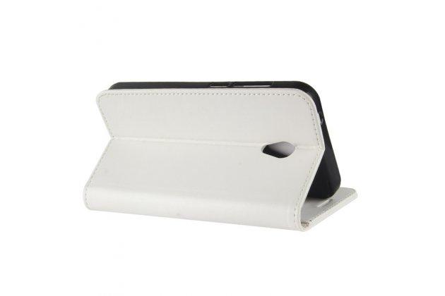 Фирменный чехол-книжка из качественной импортной кожи с подставкой застёжкой и визитницей для Alcatel U5 3G 4047D / Alcatel U5 3G 4047X белый