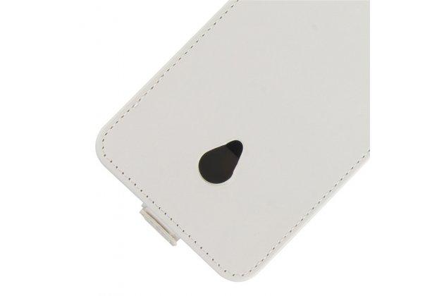 Фирменный оригинальный вертикальный откидной чехол-флип для Alcatel U5 3G 4047D / Alcatel U5 3G 4047X белый из натуральной кожи Prestige
