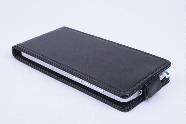 Фирменный оригинальный вертикальный откидной чехол-флип для Fly FS529 Сhamp черный из натуральной кожи Prestige