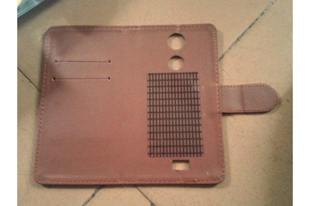 Фирменный чехол-книжка из качественной импортной кожи с застёжкой и визитницей для Fly FS529 Сhamp коричневый