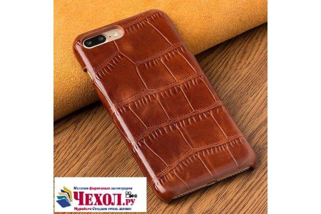 Фирменная элегантная задняя панель-крышка с фактурной отделкой натуральной кожи крокодила для HTC U11 EYEs коричневая. Только в нашем магазине. Количество ограничено.