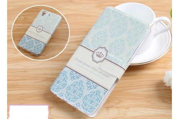 Фирменный уникальный необычный чехол-подставка для HTC U11 EYEs  тематика Корона в винтажном стиле
