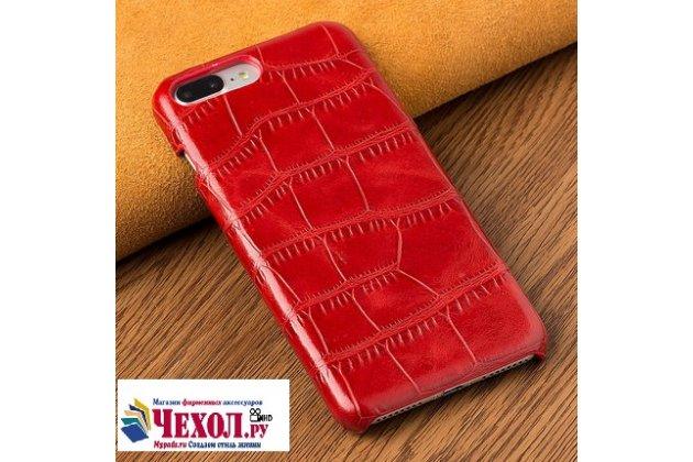 Фирменная элегантная задняя панель-крышка с фактурной отделкой натуральной кожи крокодила для HTC U11 EYEs красная. Только в нашем магазине. Количество ограничено.