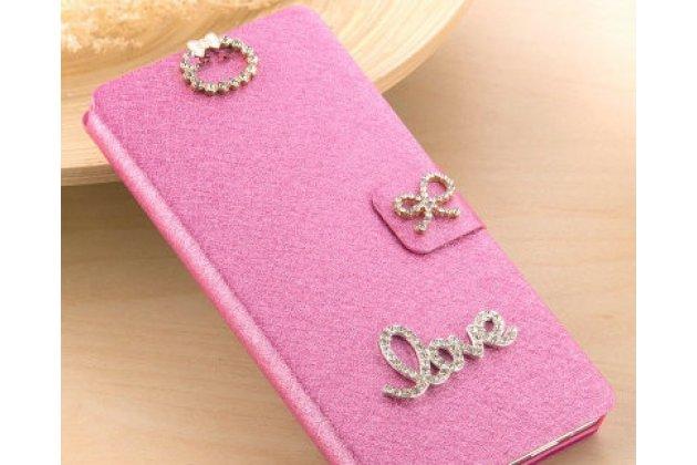 Фирменный роскошный чехол-книжка безумно красивый декорированный бусинками и кристаликами на HTC U11 EYEs розовый