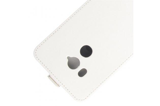 Фирменный оригинальный вертикальный откидной чехол-флип для HTC U11 EYEs белый из натуральной кожи Prestige