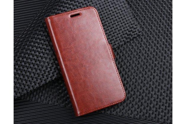 Фирменный чехол-книжка из качественной импортной кожи с подставкой застёжкой и визитницей для HTC U11 EYEs коричневый