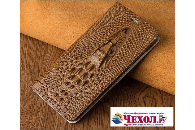 Фирменный роскошный эксклюзивный чехол с объёмным 3D изображением кожи крокодила коричневый для HTC U11 EYEs . Только в нашем магазине. Количество ограничено