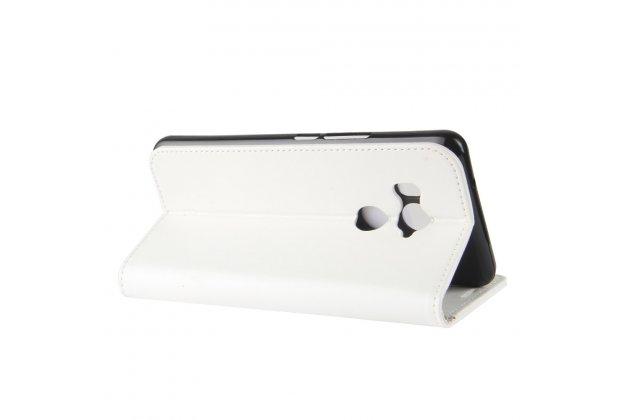 Фирменный чехол-книжка из качественной импортной кожи с подставкой застёжкой и визитницей для HTC U11 EYEs белый
