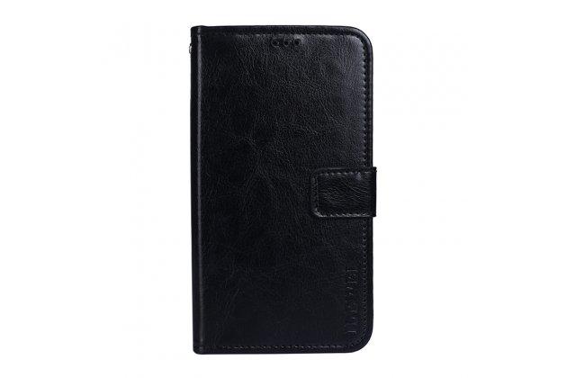 Фирменный чехол-книжка из качественной импортной кожи с подставкой застёжкой и визитницей для HTC U11 EYEs черный