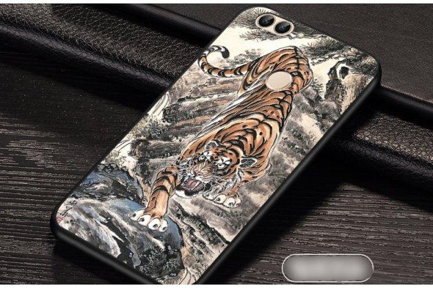 """Фирменная роскошная задняя панель-чехол-накладка  из мягкого силикона с безумно красивым расписным 3D рисунком на Huawei P Smart 5.65 (FIG-LX1 /AL00) / Huawei Enjoy 7S """"тематика Тигр"""""""