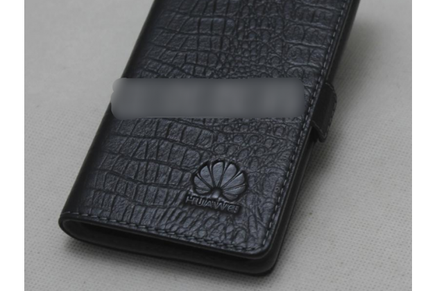 Фирменный оригинальный подлинный чехол с логотипом для Huawei P Smart 5.65 (FIG-LX1 /AL00) / Huawei Enjoy 7S из натуральной кожи крокодила черный
