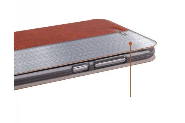 Фирменный чехол-книжка из качественной водоотталкивающей импортной кожи для Huawei P Smart 5.65 (FIG-LX1 /AL00) / Huawei Enjoy 7S голубой