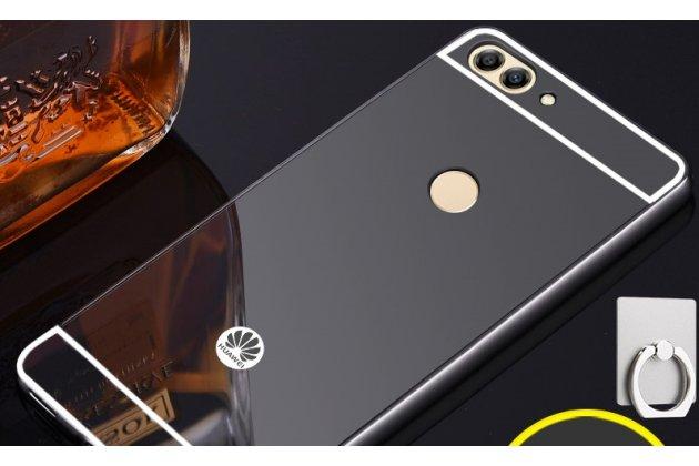 Фирменная металлическая задняя панель-крышка-накладка из тончайшего облегченного авиационного алюминия для Huawei P Smart 5.65 (FIG-LX1 /AL00) / Huawei Enjoy 7S черная