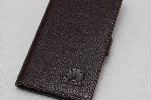 Фирменный оригинальный подлинный чехол с логотипом для Huawei P Smart 5.65 (FIG-LX1 /AL00) / Huawei Enjoy 7S из натуральной кожи коричневый
