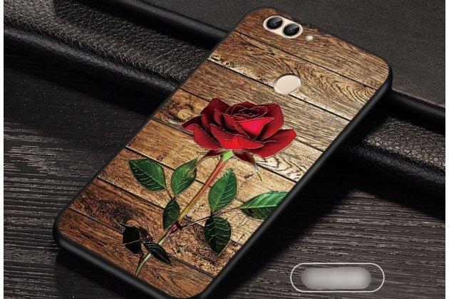 """Фирменная роскошная задняя панель-чехол-накладка  из мягкого силикона с безумно красивым расписным 3D рисунком на Huawei P Smart 5.65 (FIG-LX1 /AL00) / Huawei Enjoy 7S """"тематика Роза"""""""