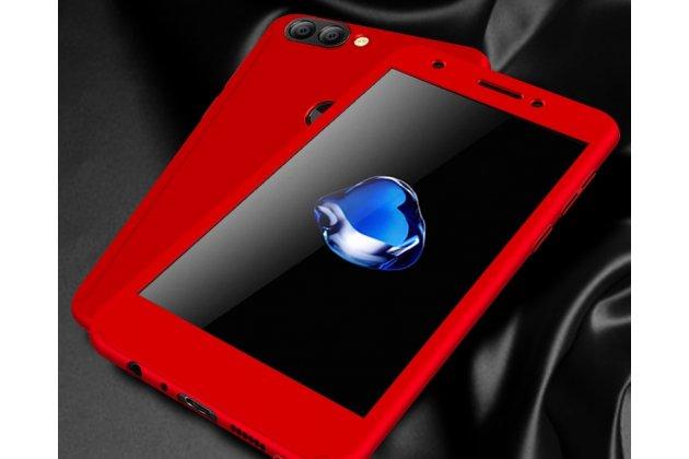 Фирменный уникальный чехол-бампер-панель с полной защитой дисплея и телефона по всем краям и углам для Huawei P Smart 5.65 (FIG-LX1 /AL00) / Huawei Enjoy 7S красный