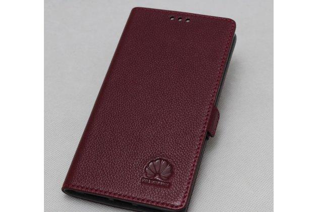 Фирменный оригинальный подлинный чехол с логотипом для Huawei P Smart 5.65 (FIG-LX1 /AL00) / Huawei Enjoy 7S из натуральной кожи цвет красное вино