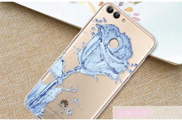 """Фирменная роскошная задняя панель-чехол-накладка  из мягкого силикона с безумно красивым расписным 3D рисунком на Huawei P Smart 5.65 (FIG-LX1 /AL00) / Huawei Enjoy 7S """"тематика Водяная роза"""""""