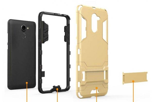 Противоударный усиленный ударопрочный фирменный чехол-бампер-пенал для Huawei P Smart 5.65 (FIG-LX1 /AL00) / Huawei Enjoy 7S серебристый