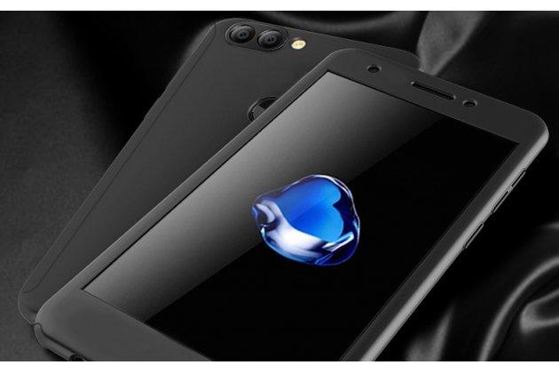 Фирменный уникальный чехол-бампер-панель с полной защитой дисплея и телефона по всем краям и углам для Huawei P Smart 5.65 (FIG-LX1 /AL00) / Huawei Enjoy 7S черный