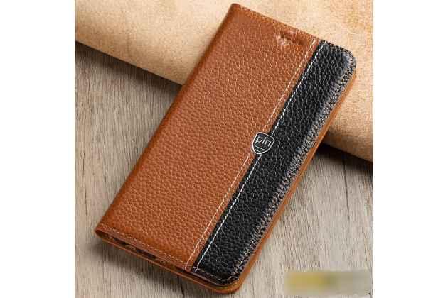 Фирменный премиальный чехол-книжка из качественной импортной кожи с мульти-подставкой и визитницей для Huawei P Smart 5.65 (FIG-LX1 /AL00) / Huawei Enjoy 7S  коричнево-черный