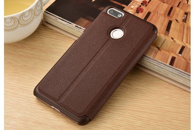 Фирменный чехол-книжка для Huawei P Smart 5.65 (FIG-LX1 /AL00) / Huawei Enjoy 7S коричневый с окошком для входящих вызовов и свайпом водоотталкивающий