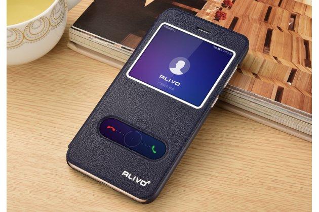 Фирменный чехол-книжка для Huawei P Smart 5.65 (FIG-LX1 /AL00) / Huawei Enjoy 7S синий с окошком для входящих вызовов и свайпом водоотталкивающий