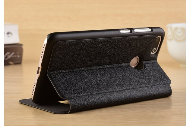 Фирменный чехол-книжка для Huawei P Smart 5.65 (FIG-LX1 /AL00) / Huawei Enjoy 7S черный с окошком для входящих вызовов и свайпом водоотталкивающий