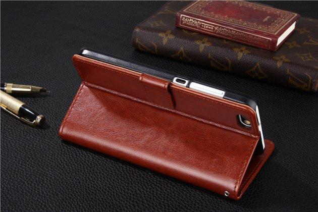 Фирменный чехол-книжка из качественной импортной кожи с подставкой застёжкой и визитницей для Huawei P Smart 5.65 (FIG-LX1 /AL00) / Huawei Enjoy 7S коричневый