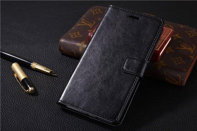 Фирменный чехол-книжка из качественной импортной кожи с подставкой застёжкой и визитницей для Huawei P Smart 5.65 (FIG-LX1 /AL00) / Huawei Enjoy 7S черный