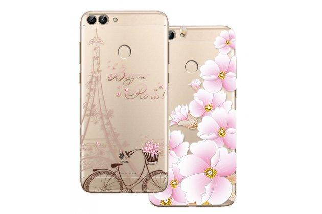 """Фирменная роскошная задняя панель-чехол-накладка  из мягкого силикона с безумно красивым расписным 3D рисунком на Huawei P Smart 5.65 (FIG-LX1 /AL00) / Huawei Enjoy 7S """"тематика Париж"""""""