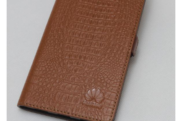 Фирменный оригинальный подлинный чехол с логотипом для Huawei P Smart 5.65 (FIG-LX1 /AL00) / Huawei Enjoy 7S из натуральной кожи крокодила светло-коричневый