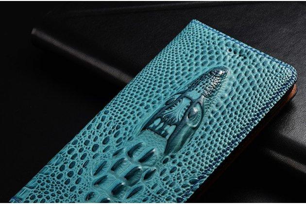 Фирменный роскошный эксклюзивный чехол с объёмным 3D изображением кожи крокодила синий для Huawei P Smart 5.65 (FIG-LX1 /AL00) / Huawei Enjoy 7S  Только в нашем магазине. Количество ограничено