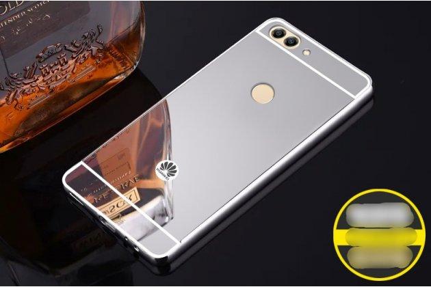 Фирменная металлическая задняя панель-крышка-накладка из тончайшего облегченного авиационного алюминия для Huawei P Smart 5.65 (FIG-LX1 /AL00) / Huawei Enjoy 7S серебристая