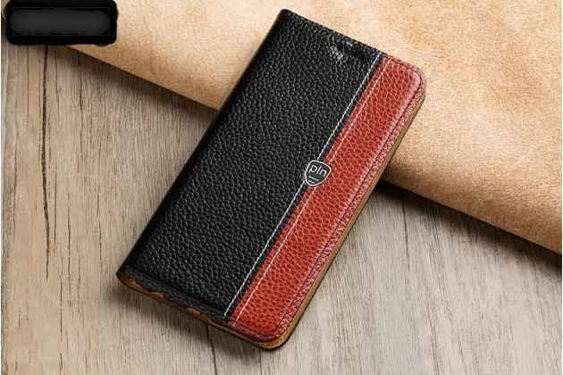 Фирменный премиальный чехол-книжка из качественной импортной кожи с мульти-подставкой и визитницей для Huawei P Smart 5.65 (FIG-LX1 /AL00) / Huawei Enjoy 7S  черно-коричневый