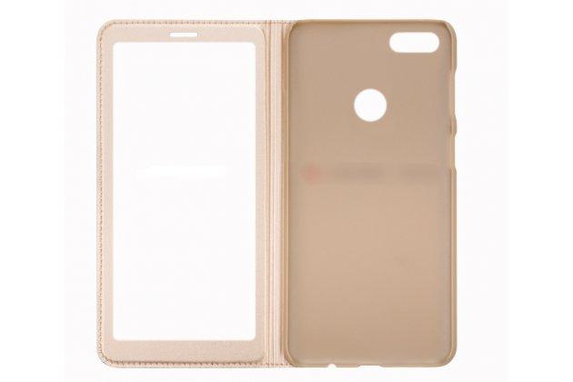 Фирменный оригинальный чехол-книжка для Huawei P Smart 5.65 (FIG-LX1 /AL00) / Huawei Enjoy 7S розовый с окошком для входящих вызовов водоотталкивающий