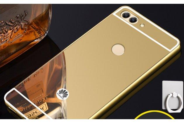 Фирменная металлическая задняя панель-крышка-накладка из тончайшего облегченного авиационного алюминия для Huawei P Smart 5.65 (FIG-LX1 /AL00) / Huawei Enjoy 7S золотая
