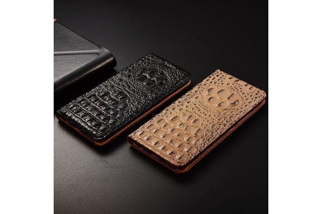 Фирменный роскошный эксклюзивный чехол с объёмным 3D изображением рельефа кожи крокодила черный для Huawei P Smart 5.65 (FIG-LX1 /AL00) / Huawei Enjoy 7S Только в нашем магазине. Количество ограничено