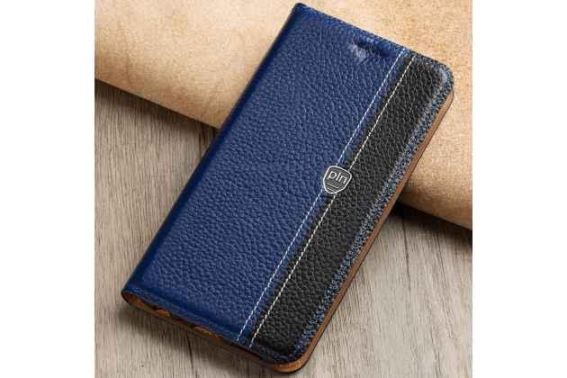 Фирменный премиальный чехол-книжка из качественной импортной кожи с мульти-подставкой и визитницей для Huawei P Smart 5.65 (FIG-LX1 /AL00) / Huawei Enjoy 7S  сине-черный