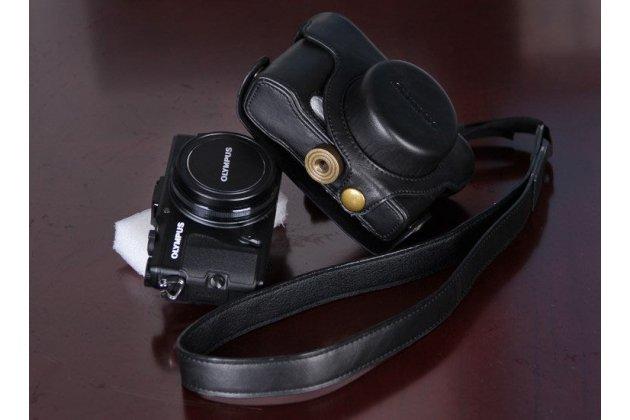 Сумка-кожух  из качественной импортной кожи для фотоаппарата Olympus XZ-1/XZ-2/XZ-10 коричневого цвета