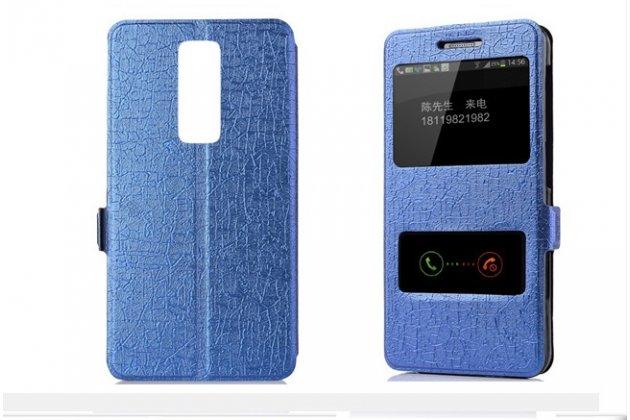 Фирменный чехол-книжка для Alcatel A3 PLUS 3G 5011A синий с окошком для входящих вызовов и свайпом водоотталкивающий