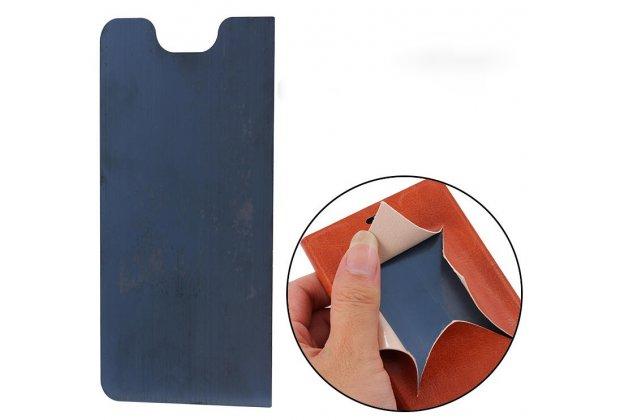 Фирменный чехол-книжка из качественной водоотталкивающей импортной кожи на жёсткой металлической основе для Alcatel A3 PLUS 3G 5011A коричневый