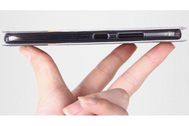 Фирменный чехол-книжка для Alcatel A3 PLUS 3G 5011A водоотталкивающий черный с золотой полосой